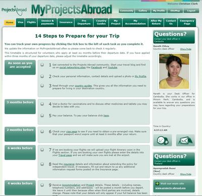 An example of a MyProjectsAbroad page given to all volunteers when their applications are processed and accepted