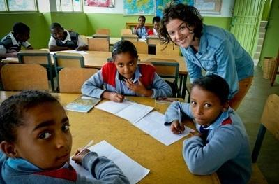 A female volunteer at a school in Ethiopia