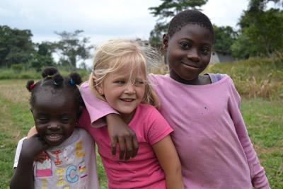 Children enjoying volunteer holidays, playing together in Ghana