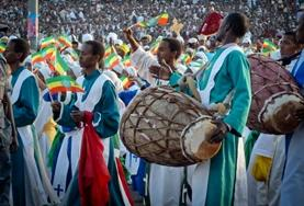Local people in traditional dress in Ethiopia, where we run our Amharic language course for volunteers.
