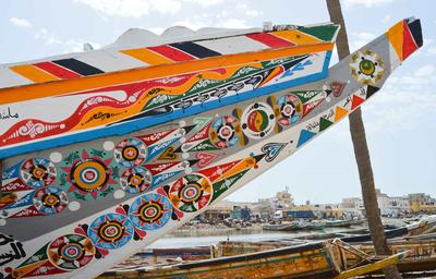 A painted fishing boat in Saint Louis, Senegal, where the Projects Abroad French Language Courses are based