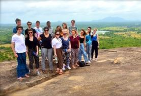 A group of volunteers use the Sinhalese they've learnt on their language course during a sightseeing activity in Sri Lanka.