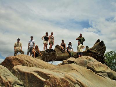 Projects Abroad volunteers take a break from their volunteer work in Botswana.