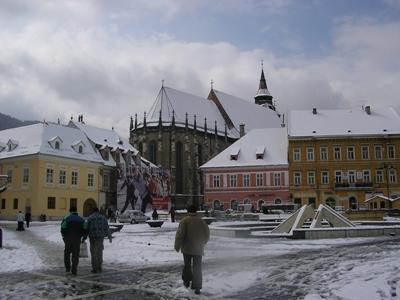 Brasov's town square in winter
