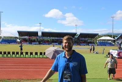 A volunteer works as a medic in the historic All Blacks vs Manu Samoa Test match