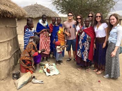 Volunteers visit a Masai village in Tanzania