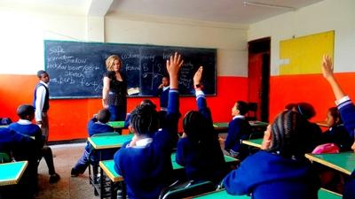 A volunteer teaching her class in Ethiopia