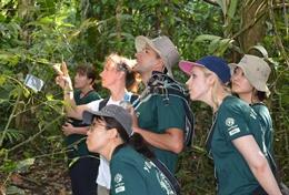A group of adult volunteers go on a bird survey to monitor the local wildlife during their Conservation placement in Peru.