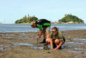 A Conservation volunteer plants mangrove seedlings along the coast to help with marine protection efforts in the South Pacific.