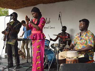 The Mama Sadio band performing in Saint Louis, Senegal