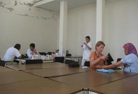 Nursing Elective students set up their screening stations in preparation for a volunteer medical outreach in Morocco.