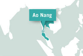 A map of Ao Nang, Thailand, where our global gap year volunteers help with Conservation work in South East Asia.