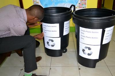 Disaster Management volunteer prepare to launch recycling scheme