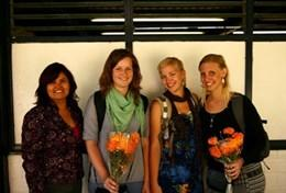 A group of Journalism interns meeting together at their volunteer placement in Mexico.