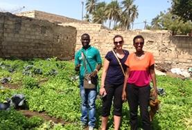 A Micro-finance volunteer talks to local Talibé entrepreneurs about their business plans as part of her internship in Senegal.