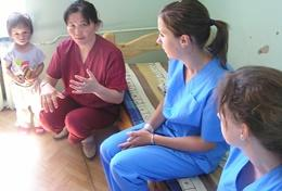 A professional psychiatrist works with local mental health professionals at her volunteer placement in Mongolia.