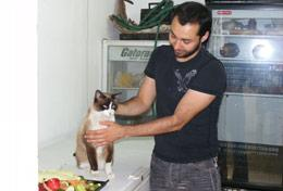 A qualified veterinarian volunteering in Mexico performs a health check on a cat at a veterinary clinic.