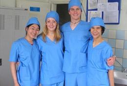 Medicine High School Special interns wear their scrubs, ready to observe surgery at a hospital in Mongolia.