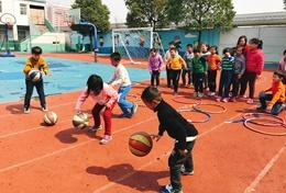 School children work with volunteers to exercise and improve their fitness and motor skills on our Multi-sports project in China.
