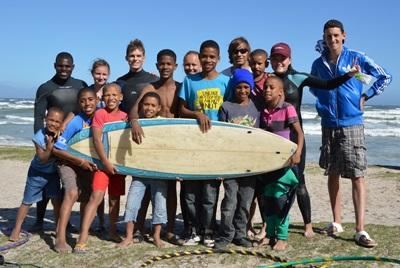 Male volunteers at Surfing project in South Africa