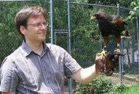 An Animal Care volunteer helps with rehabilitating a bird of prey at his Falconry project in Mexico.