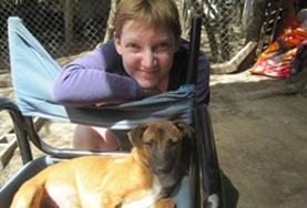 A Veterinary Medicine & Animal Care volunteer spends time working with a dog at a local shelter in Argentina.